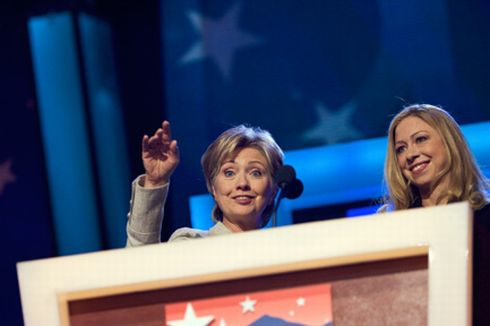 Sen. Hillary Clinton and Chelsea Clinton. Photo by DemConvention @flickr.  License: Creative Commons Attribution-Share Alike 2.0 Generic